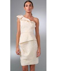Lela Rose - White One-shoulder Silk-blend Dress - Lyst
