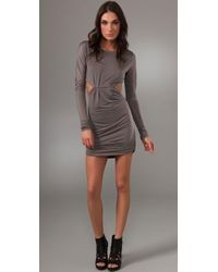 Pencey | Gray Long Sleeve Backless Dress | Lyst