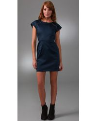 Porter Grey | Blue Shift Dress with Exposed Zippers | Lyst