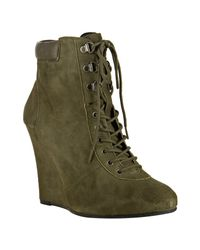 Pour La Victoire | Green Olive Distressed Suede Lang Lace-up Booties | Lyst