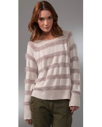 Rebecca Taylor | Natural Sparkle & Stripes Sweater | Lyst