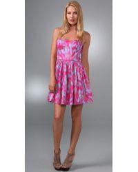 Rebecca Taylor | Purple Strapless Dress | Lyst
