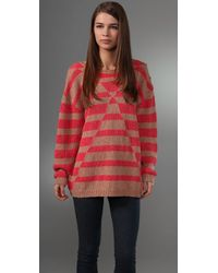 See By Chloé | Red Striped Oversize Pullover | Lyst
