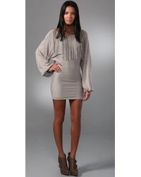 Sheri Bodell | Gray Batwing Fringe Sweater Dress | Lyst
