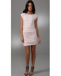 Shoshanna | Pink Ruched Silk Shift Dress | Lyst