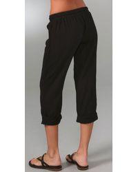 Splendid - Black Cotton Gauze Rolled Pants - Lyst