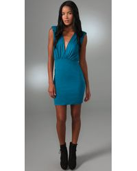 T-bags | Blue Deep V Open Back Dress | Lyst