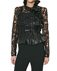 Valentino | Black Leather and Raffia Lace Jacket | Lyst