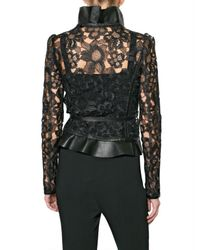 Valentino - Black Leather and Raffia Lace Jacket - Lyst