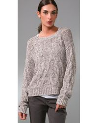 Vince - Natural Cropped Cable Knit Sweater - Lyst