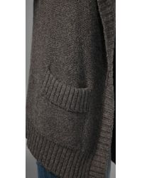 Vince - Gray Oversized Pocket Sweater Coat - Lyst