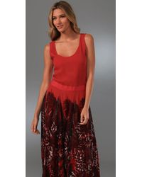 Adam Lippes - Red Long Tank Dress with Print Skirt - Lyst