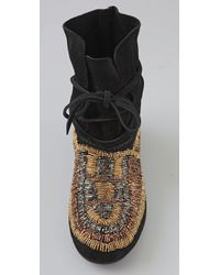 House of Harlow 1960 | Black Maddie Beaded Suede Moccasin Booties | Lyst