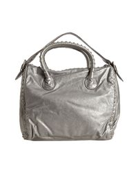 Marc By Marc Jacobs   Metallic Silver Leather Studded Top Handle Bag   Lyst
