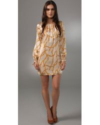 MILLY - Brown Simone Sleeve Dress - Lyst