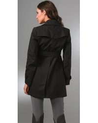 Theory | Black Chateau Ingrid Trench Coat with Leather | Lyst