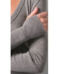 Enza Costa - Gray Cotton Cashmere Sweater with Thumbholes - Lyst