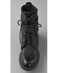 H by Hudson | Black Alba Combat Boots | Lyst