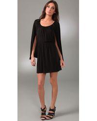 Halston | Black Short Cape Dress | Lyst