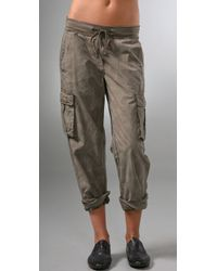 James Perse | Gray Rolled Cargo Pants | Lyst