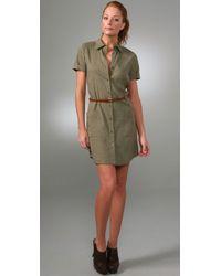 Theory | Green Carita W Dress with Belt | Lyst