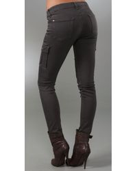 7 For All Mankind - Gray Skinny Cargo Pants - Lyst