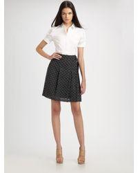 Akris Punto | Black Polka Dot Pleated Skirt | Lyst