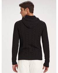 Armani - Black Cable Hoodie Sweater for Men - Lyst
