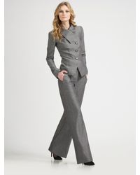 Armani | Gray Wide-leg Tweed Trousers | Lyst