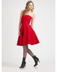 Armani   Red Silk Starburst Strapless Dress   Lyst