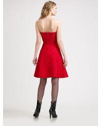 Armani - Red Silk Starburst Strapless Dress - Lyst