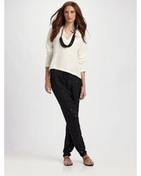 Behnaz Sarafpour | Black Sequined Drawsting Pants | Lyst