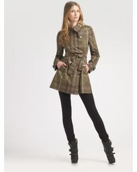 Burberry Brit | Green Short Check Trenchcoat | Lyst
