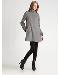 Burberry | Gray Funnel-neck A-line Coat | Lyst