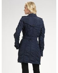 Burberry | Blue Ruched Taffeta Trench Coat | Lyst