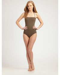 Chloé | Brown Lace-trimmed One-piece Swimsuit | Lyst