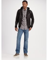 DIESEL | Black Hooded Leather Jacket for Men | Lyst