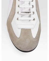 Dior Homme - White Detailed Leather Sneakers for Men - Lyst