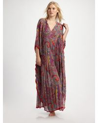 Etro | Red Paisley-print Maxi Caftan | Lyst