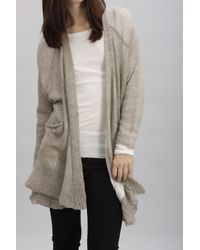 INHABIT | Gray Yak Net Cardi Sweater | Lyst