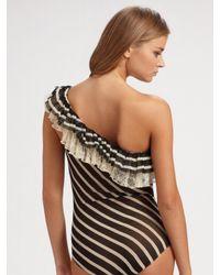 Jean Paul Gaultier - Black Ruffled One-piece Swimsuit - Lyst