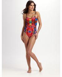 Mara Hoffman | Red Lattice One-piece Swimsuit | Lyst