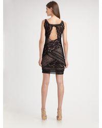 Nicole Miller - Black Stretch Lace Tank Dress - Lyst