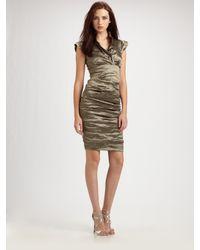 Nicole Miller | Metallic Cap Sleeve Cocktail Dress | Lyst