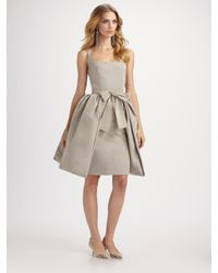 Oscar de la Renta | Gray Silk Faille Peplum Dress | Lyst