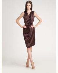 Ports 1961 | Brown Pleated Satin Dress | Lyst
