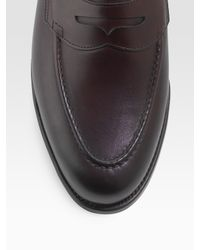 Ralph Lauren | Brown Burnished Penny Loafers for Men | Lyst