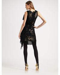 Robert Rodriguez | Black Chiffon Overlay Sequin Dress | Lyst