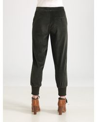 See By Chloé - Green Stretch Corduroy Cropped Pants - Lyst