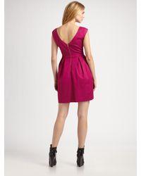 Shoshanna - Purple Boatneck Cap Sleeve Party Dress - Lyst